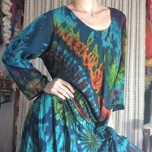 Vintage Dresses - Ultimate TYE DYE MUMU Dress Gown Rayon